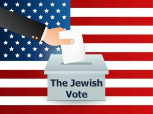 "graphic of cartoon hand putting a ballot into a box titled ""The Jewish Vote"" against the backdrop of the US flag"