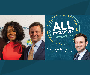 A picture of Zuri Hall and Jay Ruderman together next to the logo for All Inclusive.